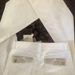 White Denim Jeans with embellished back pockets